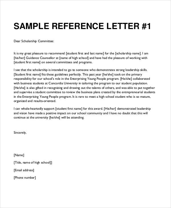 Sample Reference Letter For Student SampleLetterOf