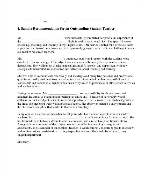 student teacher recommendation letter4