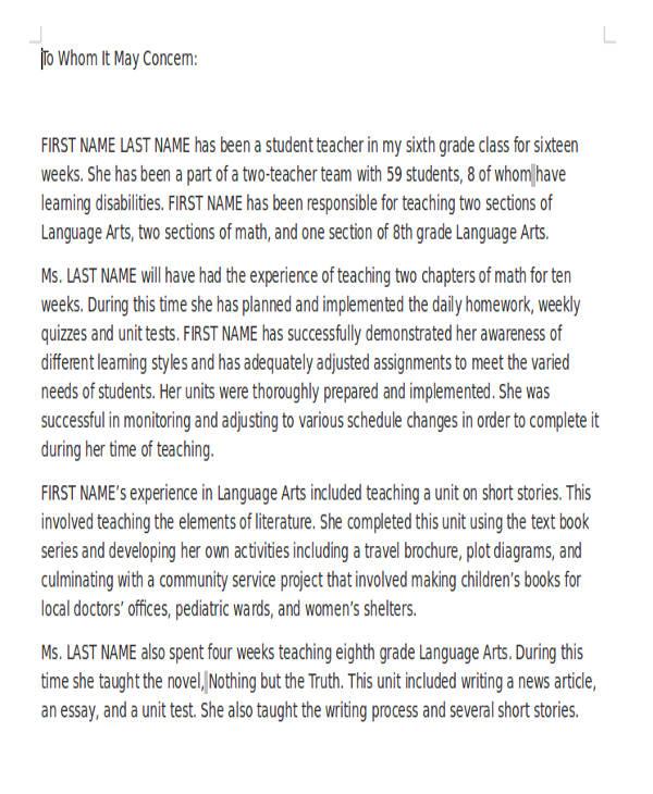 teacher reference letter