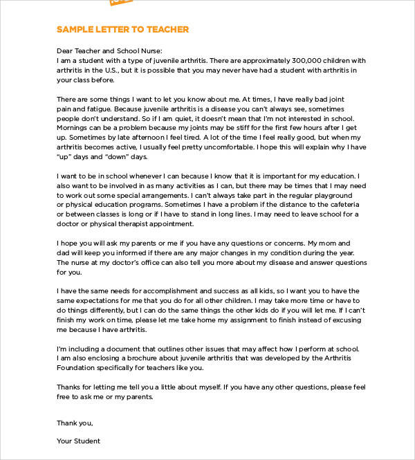 thank you letter to teacher 53 sample student letters sample templates 1653