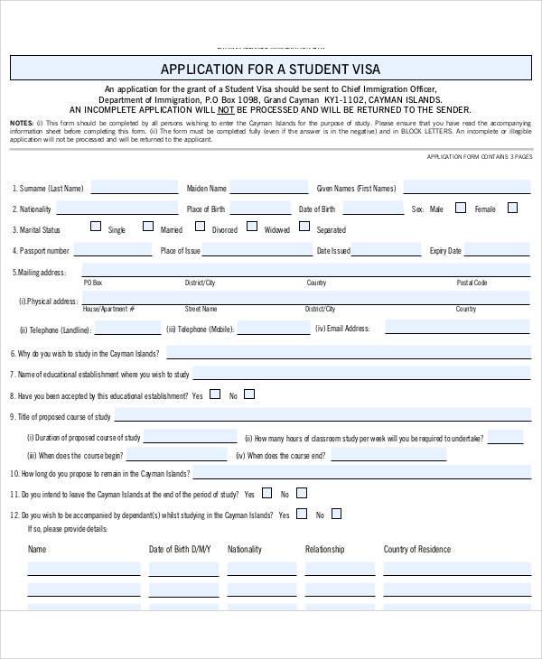 student visa medical form