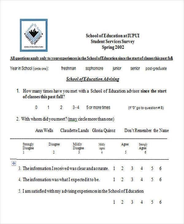 students services survey form