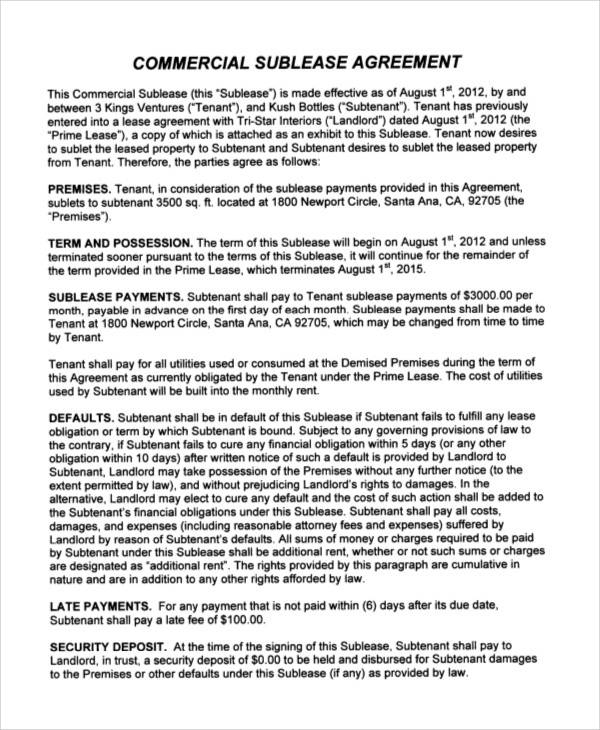 sublease commercial agreement
