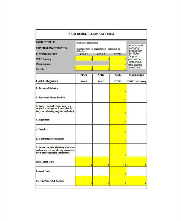 budget summary form