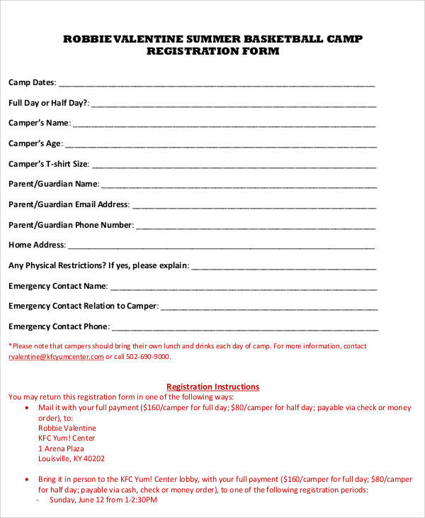 summer basketball camp registration form