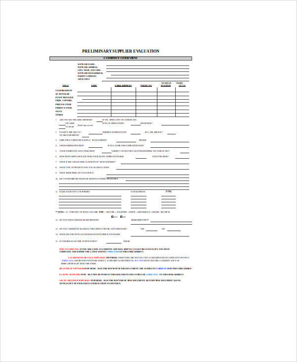 supplier evaluation survey form