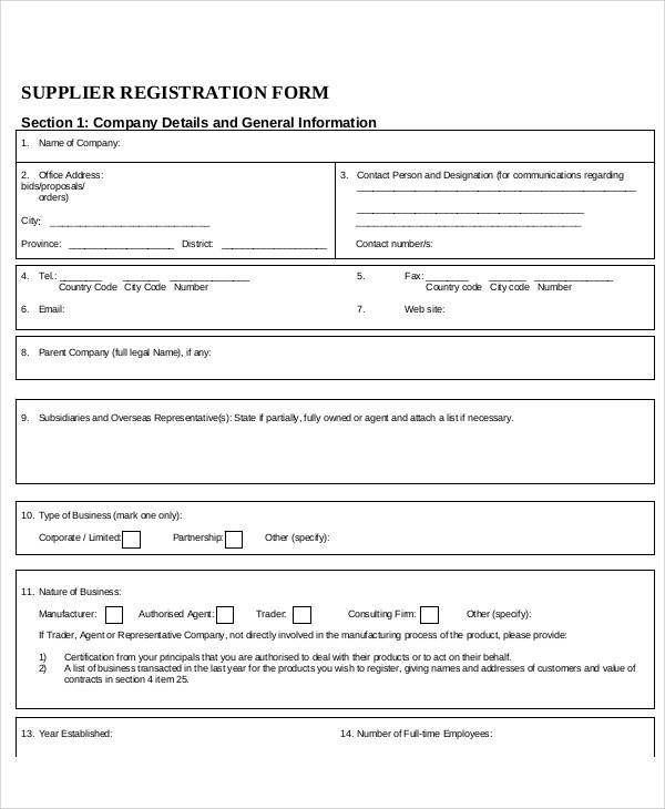 supplier registration form sample