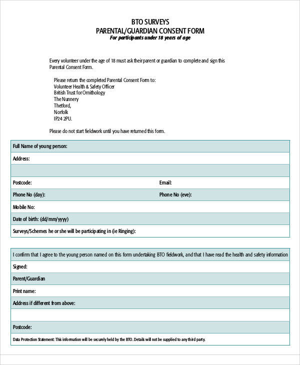 survey parental consent form