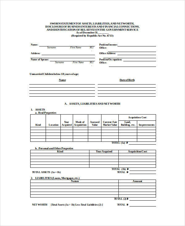 sworn statement of assets and liabilities form