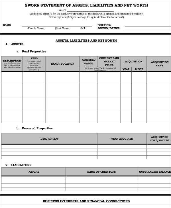 Statement Form – Asset and Liability Statement Template