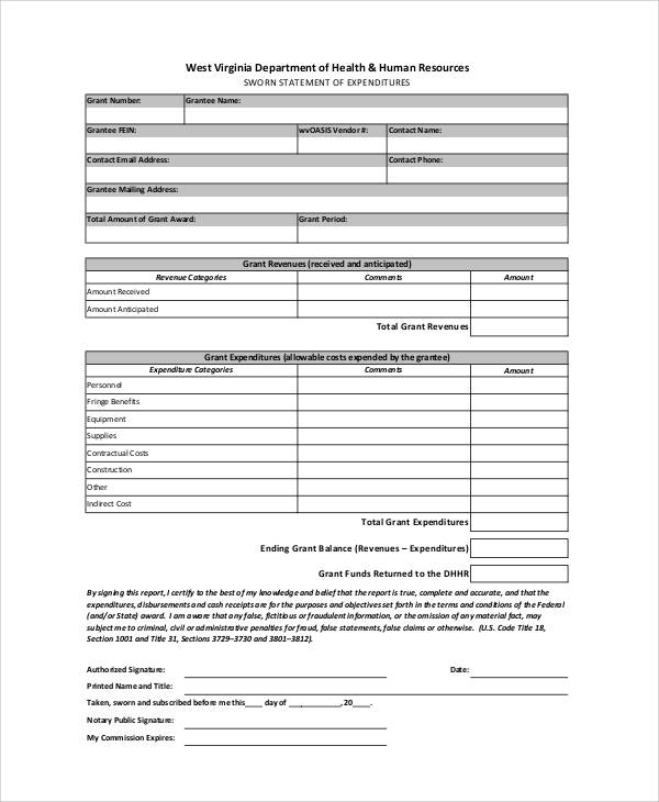 sworn statement of expenditures form