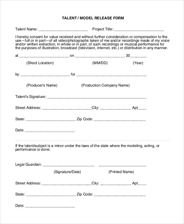 48 printable release form samples templates sample for Standard model release form template
