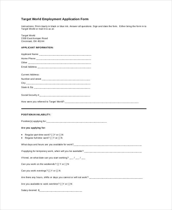 target world employment application form