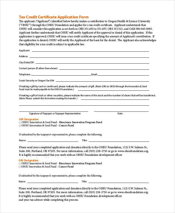 tax credit certificate application form