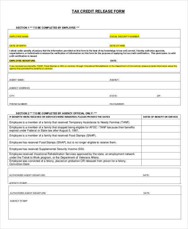 tax credit release form