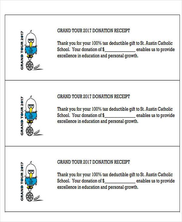 tax deductible receipt template