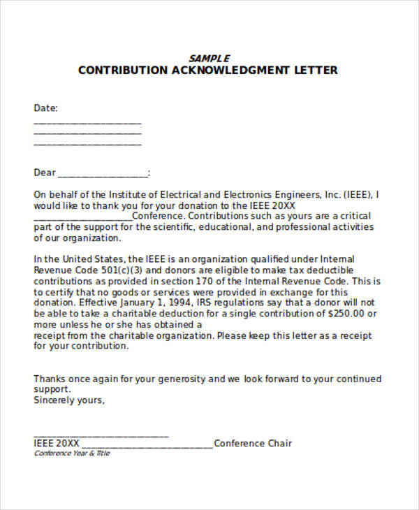 tax donation acknowledgement letter