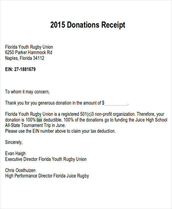 7 Tax Receipts For Donation Examples In Word Pdf