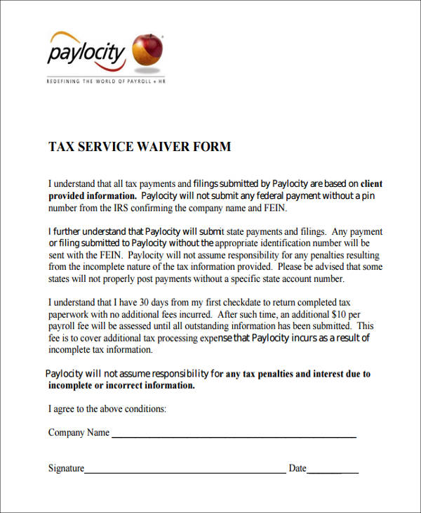 tax service waiver form