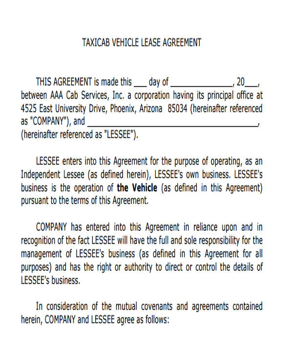 taxicab vehicle lease agreement