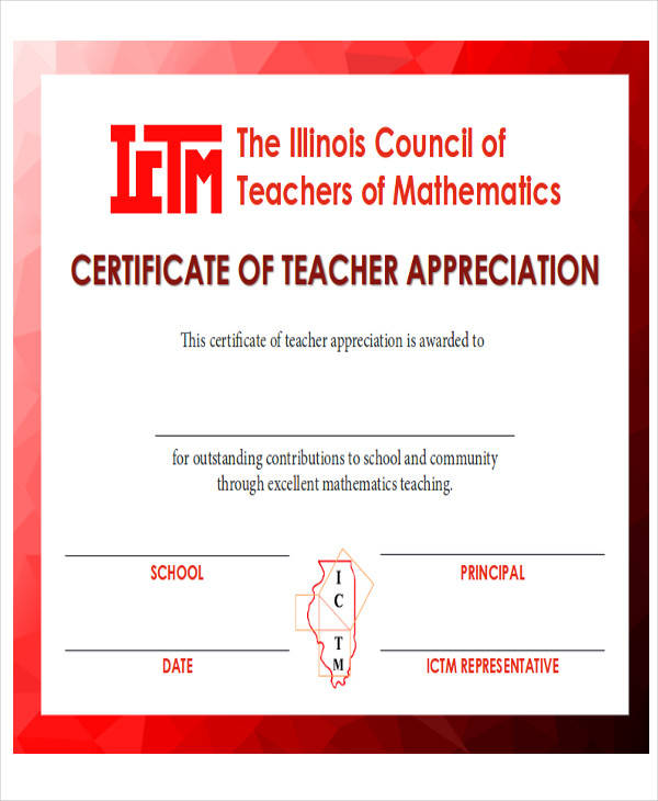 32 printable award certificates sample templates for Teacher appreciation certificate template