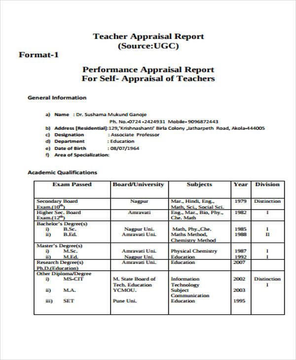 teacher self appraisal format