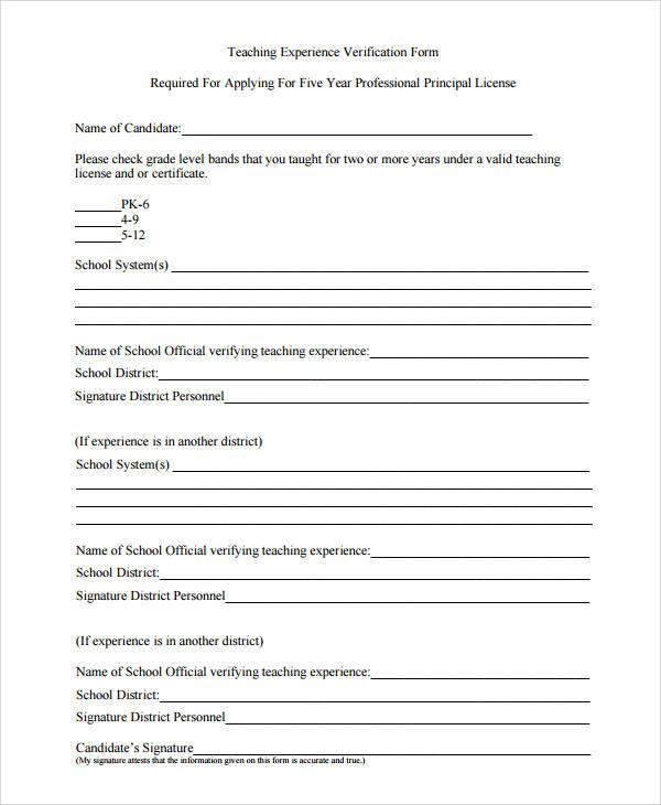 Sample Verification Forms