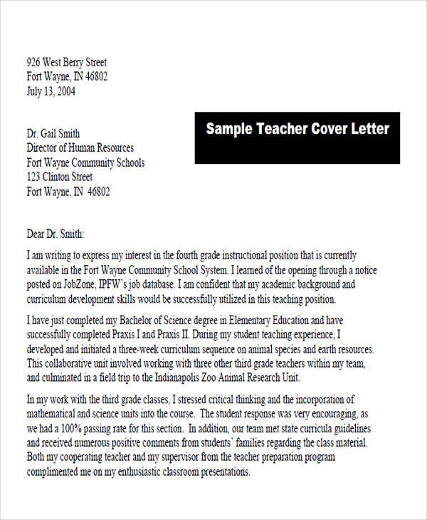Teaching Service Cover Letter Format