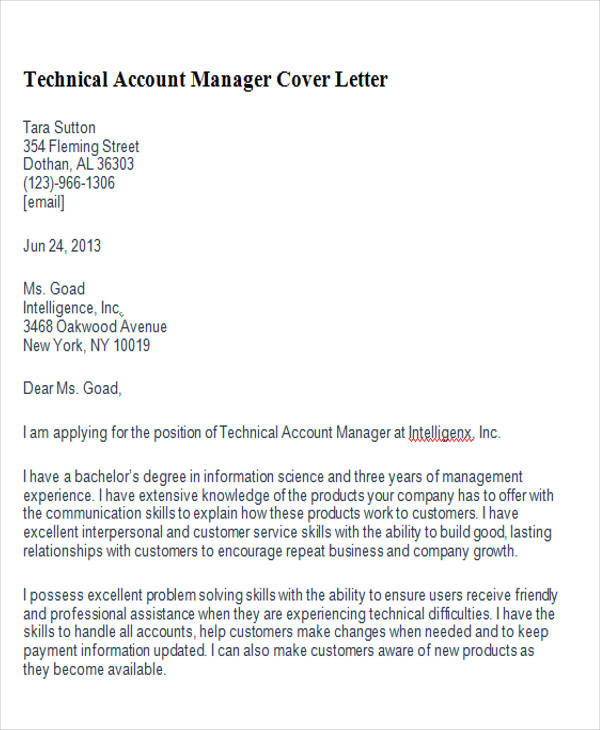 Technical Account Manager Cover Letter  Account Manager Cover Letter