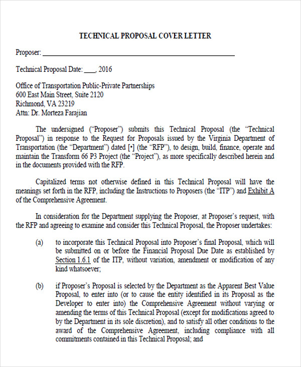 technical proposal submission letter