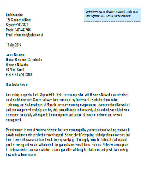 technical service cover letter