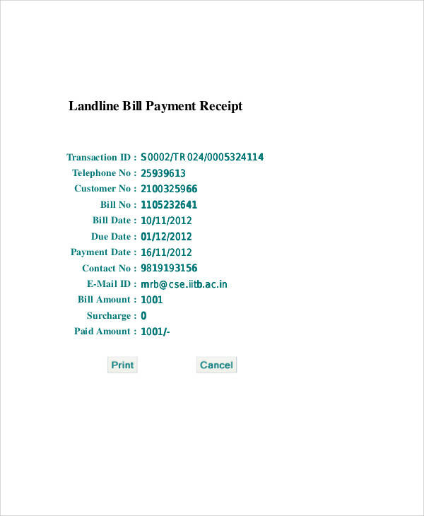 telephone bill payment receipt1