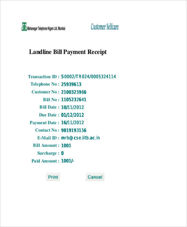 telephone bill payment receipt2