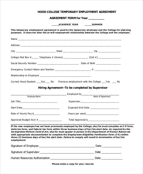 57 basic agreement forms sample templates for Temporary employment contract template free