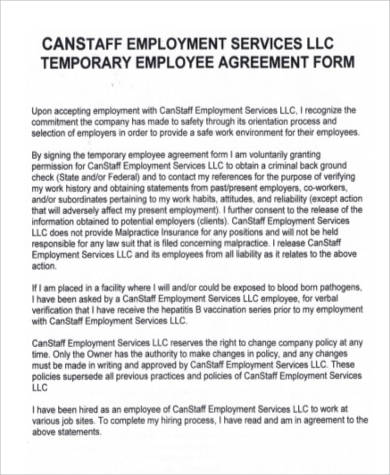 Employment agreement sample temporary employment services agreement platinumwayz