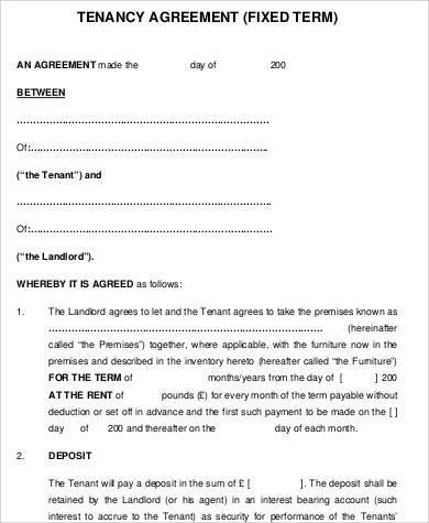 tenancy fixed term agreement