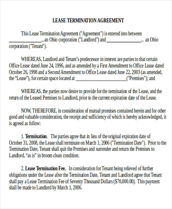 Great Commercial Tenant Lease Termination Agreement