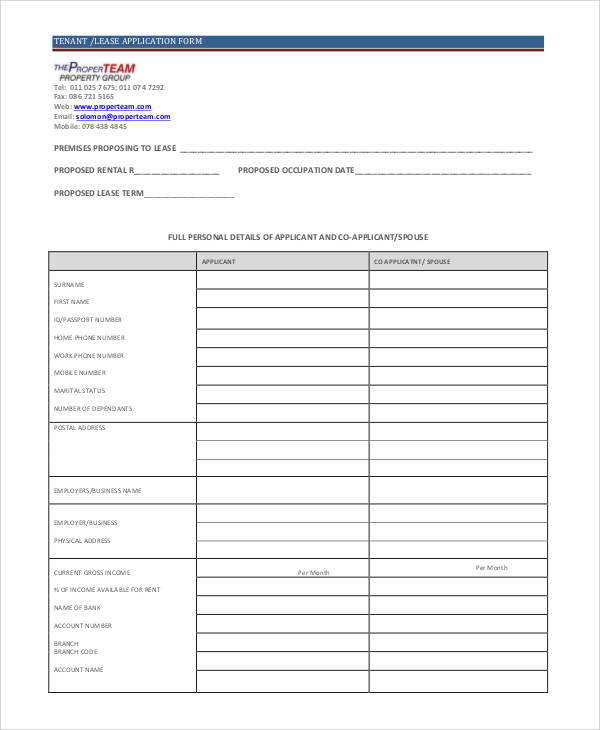 tenant lease application form