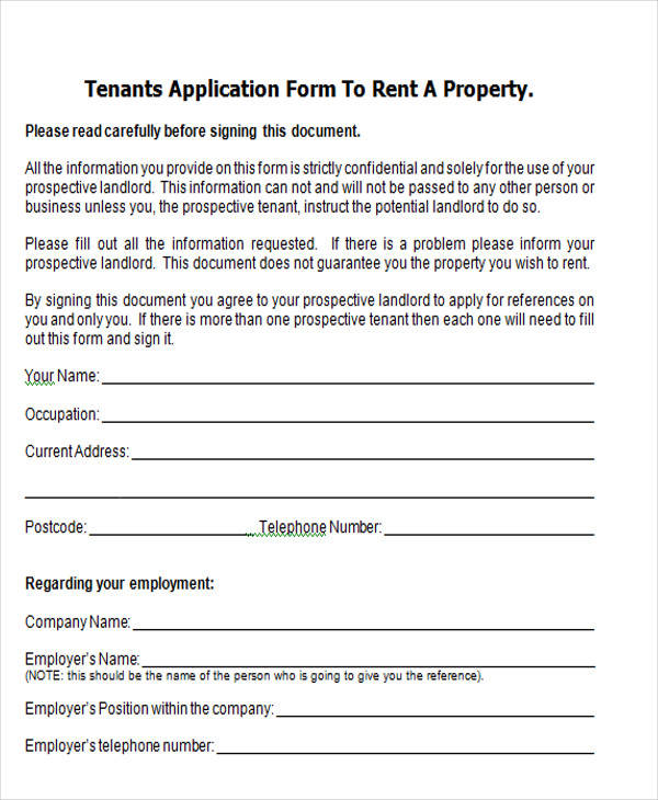tenant property application form