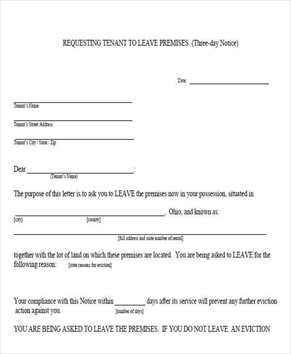tenant vacate notice form2