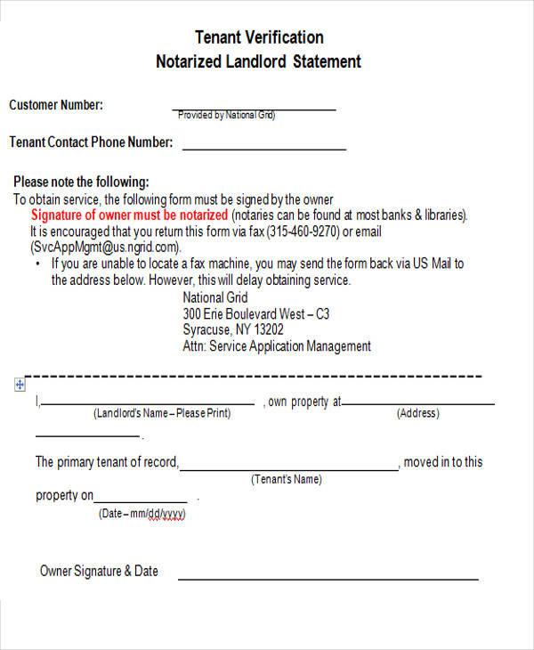 tenant verification service form