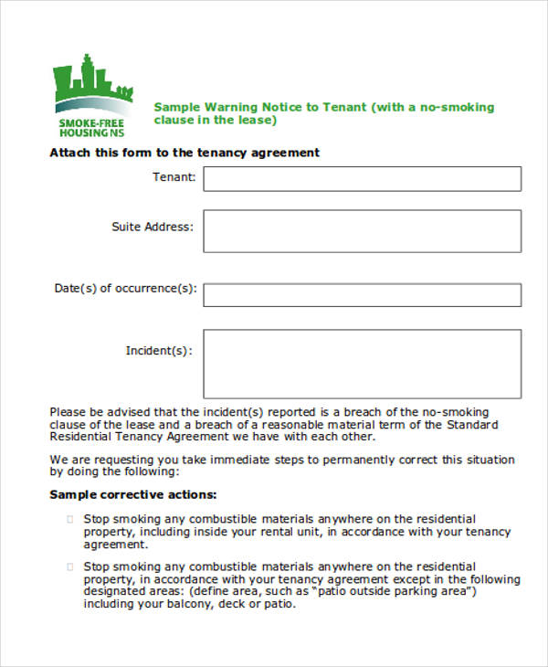tenant warning notice form