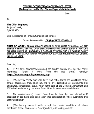 tender conditions acceptance letter