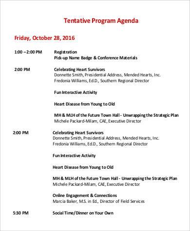 tentative program agenda