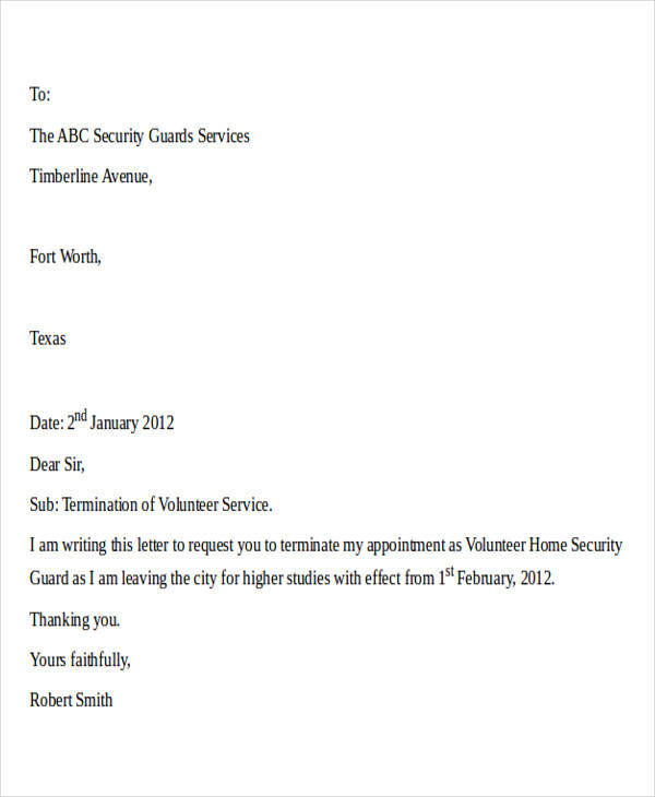 Lovely Termination Letter For Security Contractor