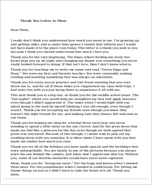 Sample Mom Thank You Letter An Example Of How To Write A Thank You