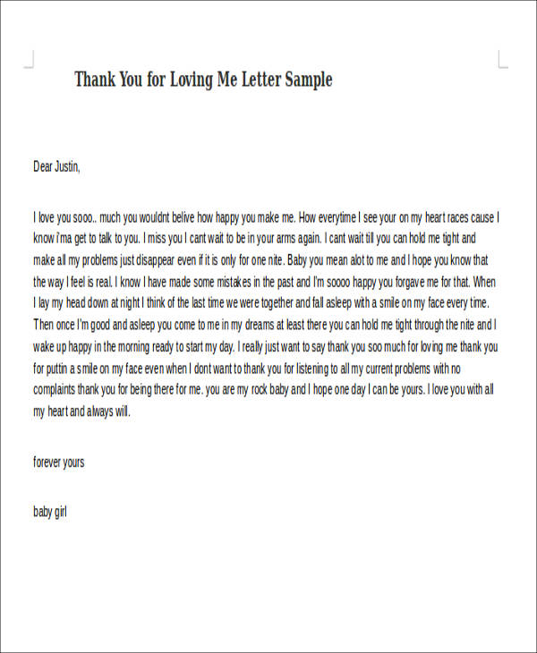 Sample Thank You For Loving Me Letter  Examples In Word Pdf