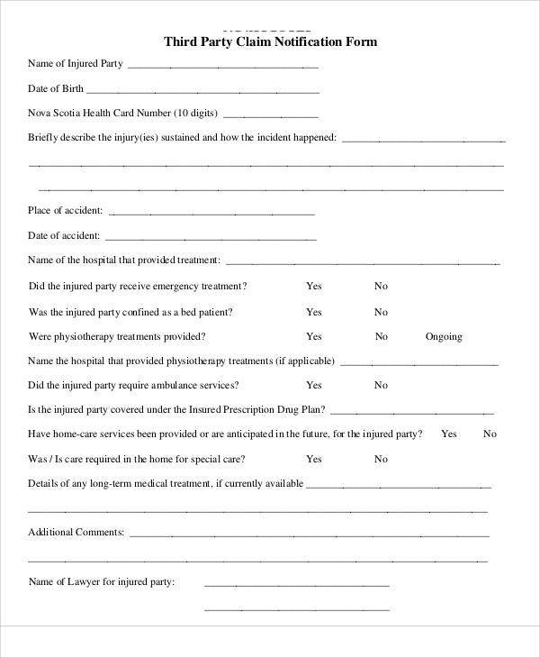 third party claim notification form