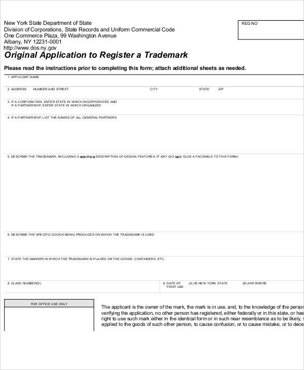 trademark registration application form