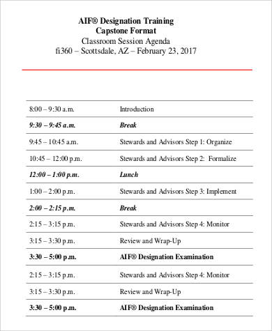training agenda format in pdf